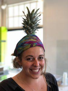 pineaple on her head